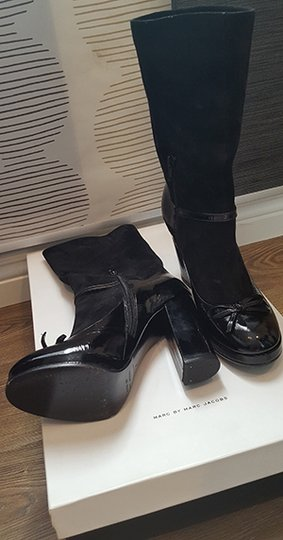 Marc by Marc Jacobs Patent Leather Suede Black Boots