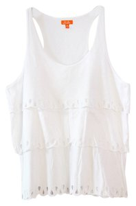 Madewell Tiered Summer Eyelet Lace Casual Cool Hi-line High Line Hi Ruffle Top White
