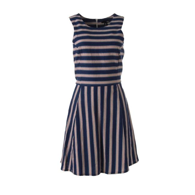 Item - Navy Blue White Red Stripes N42047 Short Casual Dress Size 12 (L)
