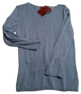 Y.A.R.N.S Blue Long Sleeve Side Solid Top Light Blue