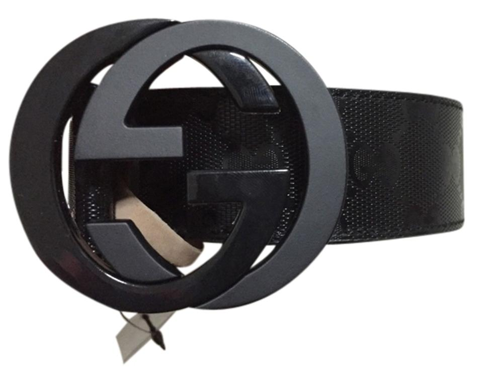 ed5815f92 Gucci NWT Authentic Gucci Men's Black GG Imprime Shiny Belt 223891 Image 0  ...
