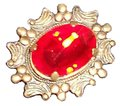Other Bright red Rhinestone gold tone pin... one inch... Free Shipping