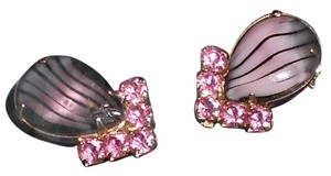Other Pink Vintage Rhinestone Clip On Earrings... One Inch