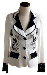 Alberto Makali Button Up & Jacket Designer Jacket Top White and Black