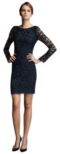 Diane von Furstenberg Lace Silk Sheath Longsleeve Short Dress