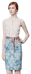 Byron Lars Beauty Mark Vintage Lace Laser Cut Grosgrain Buttons Dress