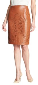Sunday in Brooklyn Pencil Faux Leather Laser Cut Skirt Luggage