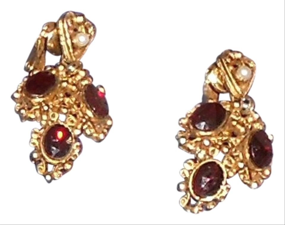 Other Vintage Garnet Rhinestone Gold Tone Clip On Earrings Free Shipping