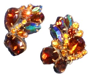 Other Big Beautiful Amber's Red's Yellow's And Blue's Rhinestone Vintage Clip On Earrings