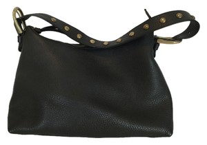 Miu Miu Brass Studs Pebbled Leather Mui Mui Hobo Shoulder Bag