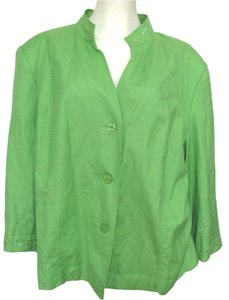 dressbarn New Beaded Linen Blend Women 22w Plus Beads Sequin Emboidered 2x 3x Rayon Buttoned green Jacket