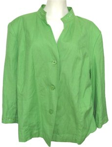 982ab4cd88e dressbarn New Beaded Linen Blend Women 22w Plus Beads Sequin Emboidered 2x  3x Rayon Buttoned green