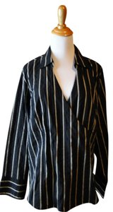 Lane Bryant Wrap Top Black with Khaki stripes