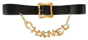 Chanel Chanel Vintage Black Leather Gold Charm Chain Logo Waist Belt
