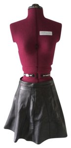 Motel Rocks Leather Skater Grunge Mini Skirt Black