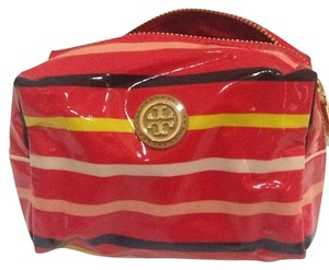 Tory Burch Red Volcano Classic Stripe Brigitte Cosmetic Case