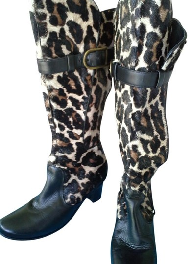 Bo Botte Made in France Fur Tall black and leopard Boots