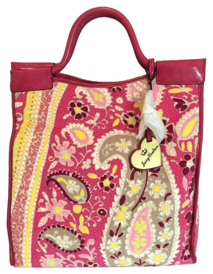 juicy couture paisley terry cloth pink tote bag totes on sale. Black Bedroom Furniture Sets. Home Design Ideas