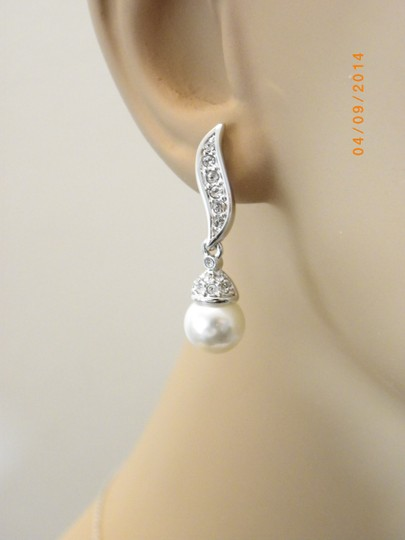 Other Sale Set Of 6 Bridesmaid Silver Plated Ivory Pearl Bridal Jewelry Rhinestone Crystal Earrings