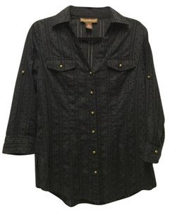 Bandolino Button Down Shirt Black with Brass Hardware