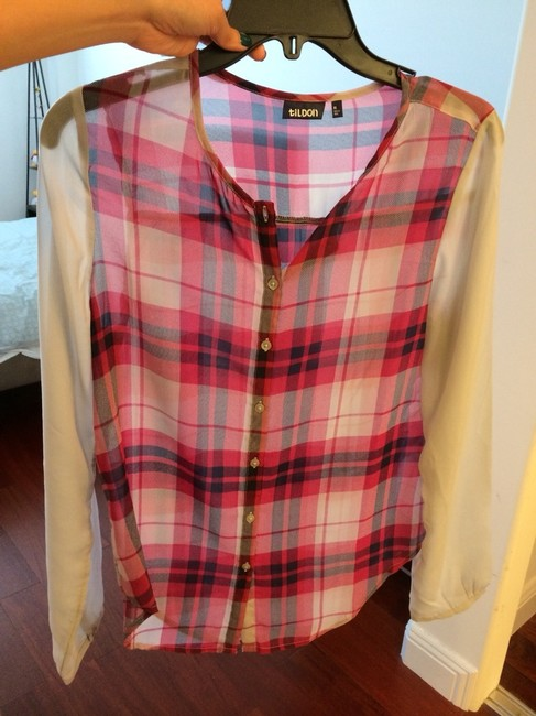 Tildon Plaid Plaid Sheer And Nordstrom Sheer Sleeve Wear With Jeans Top Grey & Red