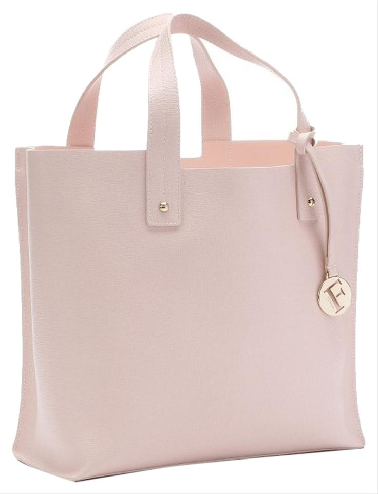 cd6f2cf9f Furla Muse Leather Medium Pink Pastel Dual Leather Carry Handles Gold  Hardware Gold Signatue Logo Charm ...