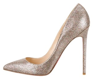 Christian Louboutin Multicolor Metallic Glitter Embellished Textured Pointed Toe Stiletto New So Kate Pigalle 39.5 9.5 Silver, Gold Pumps