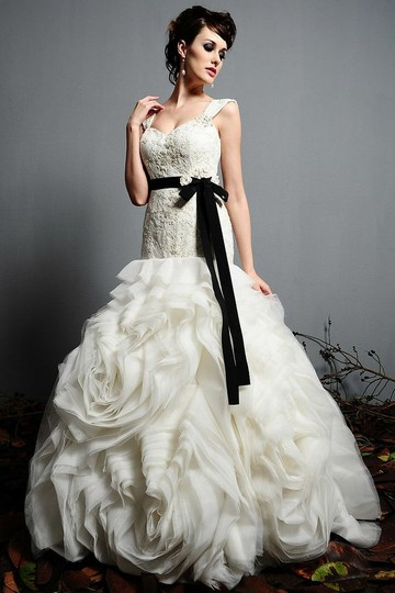 Eden Ivory/Black Lace/Organza 2420 Vintage Wedding Dress Size 14 (L)