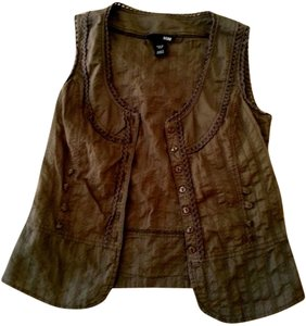 H&M Size X-small Tailored Fit Sleeveless P591 Button Down Shirt BROWN