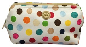 Tory Burch Tory Burch Printed Nylon Large Molded Cosmetic Case Multi Dot Multicolor White New