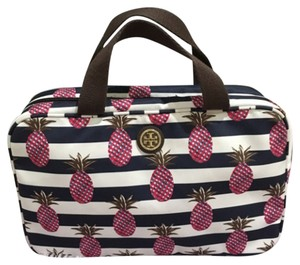 Tory Burch Tory Burch Printed Nylon Hanging Zip Cosmetic Bag Pineapple Stripe Blue Pink White New