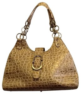 Charlie Lapson Croc Embossed Italian Leather Large Open Inside With Lots Of Storage Pockets Satchel in Metallic Gold