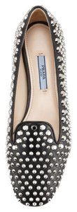 Prada Studded Leather Luxury Silver Hardware Black Flats