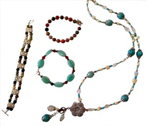 ACCESSORIES SET BELT, TURQUOISE NECKLACE JASPER BRACELET AGATE BRACELET BLUE STONE 5 PIECE SET J117
