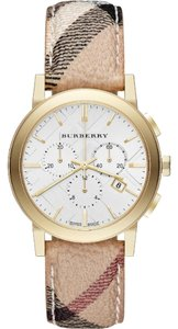 Burberry Burberry the City Haymarket Check Leather Gold Tone Chronograph Watch BU9752