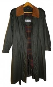British Mist Zip Out Lining Leather Collar Trench Coat