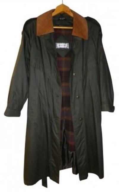 Item - Dark Green Zip Out Lining Leather Collar Coat Size Petite 12 (L)