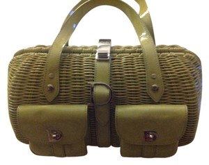 Dior Wicker And Patent Leather Satchel in Green