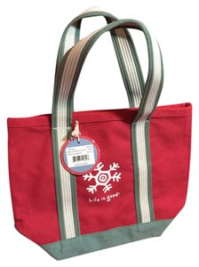 Life is Good Winter Tote in red, green, white