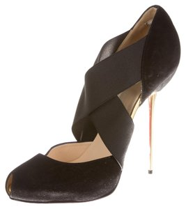 Christian Louboutin Suede Leather Elastic Black Pumps