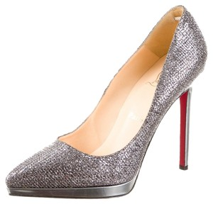 Christian Louboutin Pewter Metallic Glitter Leather Plato Stiletto Pointed Toe Platform Hidden Platform 38 8 New Pigalle Pigalle Plato 120 Silver Pumps