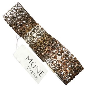 MONET Monet antique gold tone filigre design stretch bracelet