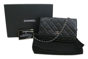 Chanel ***Sale $1795*** Chanel Wallet on Chain WOC Black SHW Lambskin Leather Silver Hardware Classic