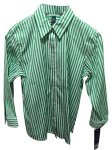 Ralph Lauren Button Down Shirt Green and White