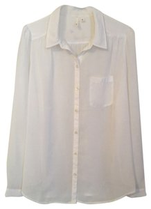 Frenchi Button Down Shirt White sheer