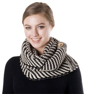 Button Accent Infinity Knit Scarf