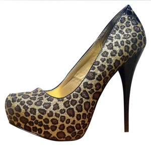 Qupid Sparkly Prom Gold Bronze Leopard Pumps