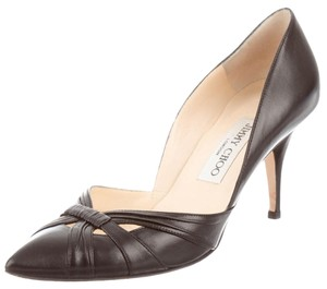 Jimmy Choo Kid Leather Leather Cut Out Pointed Toe Stiletto Black Pumps