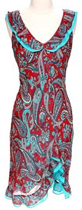 BCBGMAXAZRIA Silk Paisley Ruffle Dress