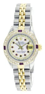 Rolex Rolex Datejust Steel & 18K Gold Custom Diamond and Ruby Ladies Watch